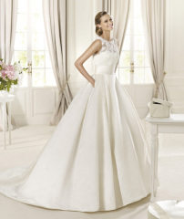 GEORGE BRIDE Lace And Royal Satin Ball Gown With Beaded Details And Pockets