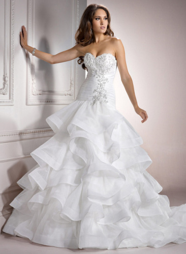 GEORGE BRIDE Tiered Ball Gown Organza Chapel Train Wedding Dress With Beaded Bodice