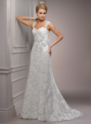 GEORGE BRIDE Elegant Lace Strap Sweetheart Neckline Wedding Dress
