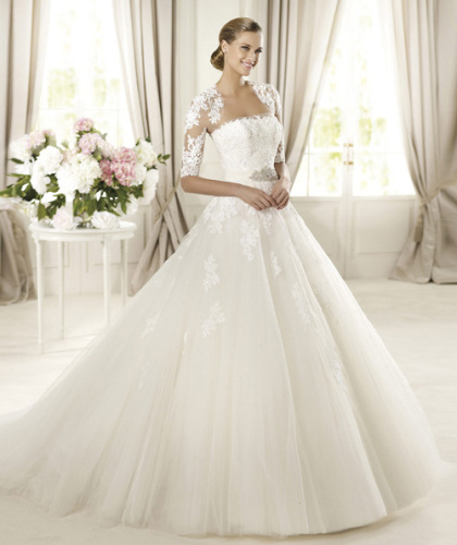 GEORGE BRIDE Royal Tulle A-Line sleeves With Rebrode Lace wedding dress