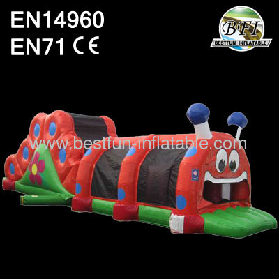 Inflatable Caterpillar Obstacle Course With Slide