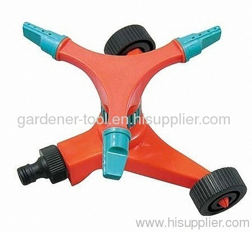 Plastic rotary sprinkler with 3-arm
