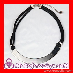 Leather Choker Bib Necklace