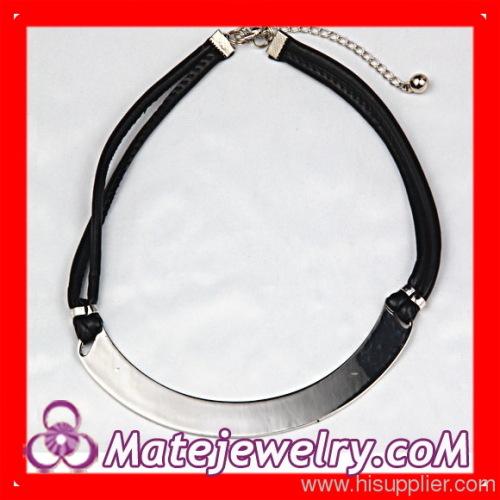 Leather Choker Bib Necklace