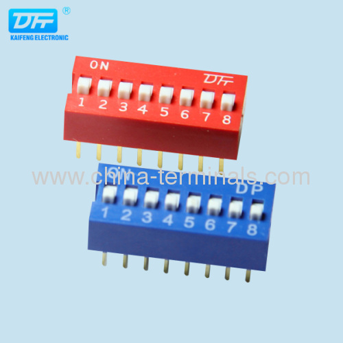 8 position/way dip switch datasheet in red/blue color