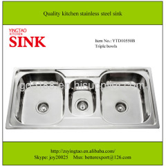 three bowls kitchen stainless steel sinks