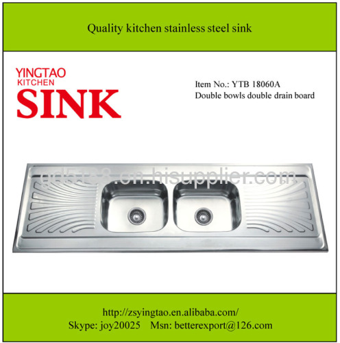 Double bowls double drain stainless steel sink