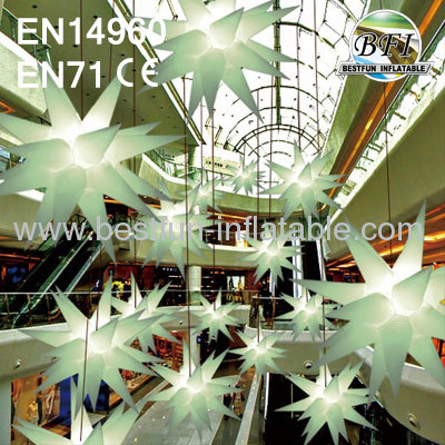 White Inflatable Lighting Star Model For Party Decoration