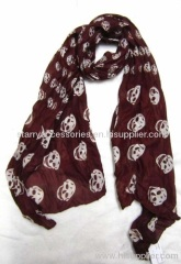woven printed scarf with skull for spring/autumn,made of polyester