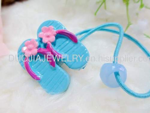 DBFS1109 lovely slipper Shape Hair Rubber Band with Resin