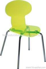 clear modern acrylic Chrome Plated steel legs side dining ant chairs