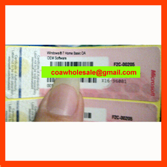 Windows7 Home Basic COA Label Sticker License Key Card X16