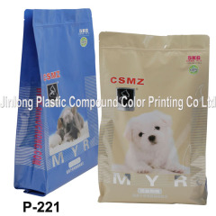 quad-seal with zipper for dog food packaging