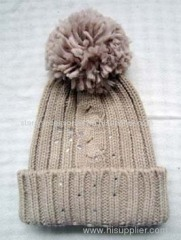 Acrylic knitted hat with diamond