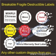 Warranty Fragile Destructible Vinyl Labels