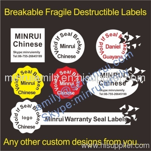 Warranty Fragile Destructible Vinyl Labels From China