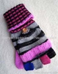 Acrylic multi color strip knitted turnover style glove with rulex