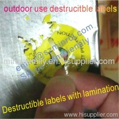 water proof destructive labels