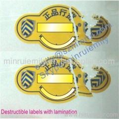 water proof destructive stickers