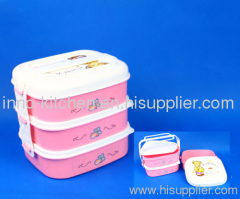 3 Layers Plastic Lunch Box With Handle and Spoon