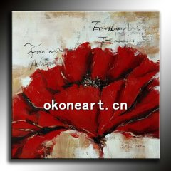 100% handpainted red flower abstract oil painting