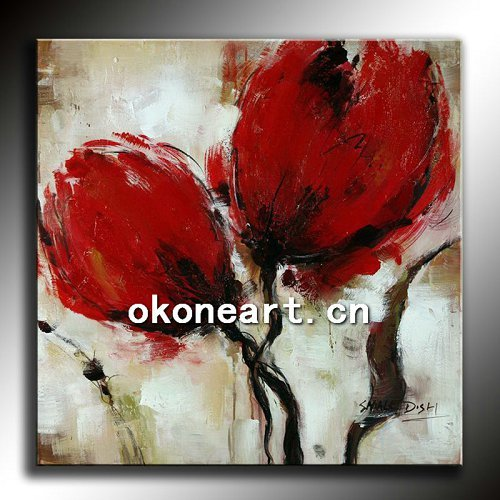 Handmade abstract poppy flower oil painting NA19 ...