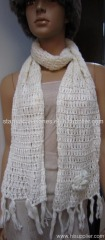 acrylic ladies knitted winter scarf with crochet flower