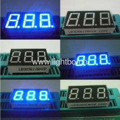 3 digit common cathode blue 7 segment led display;