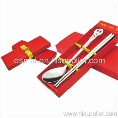 Set of 2 big head-spoon chopsticks