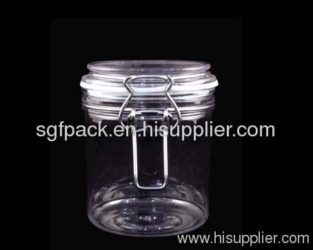 Plastic PET Storage bottle 600ml PET Kilner jar with stainless lock and silicone gasket Plastic container food package