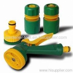 plastic garden hose nozzle set with fitting