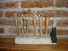 2012 wood carved animal ball pen