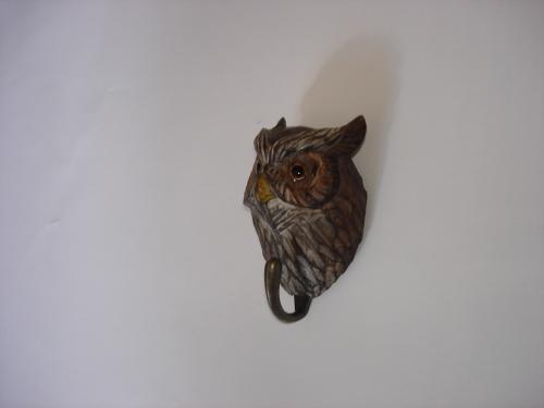 handmade wood owl hook