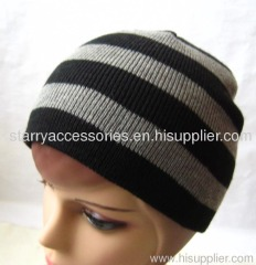 Acrylic strip doubel layer knitted winter hat