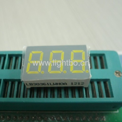 3 digit 0.36 inch common cathode ultra bright white 7 segment led display