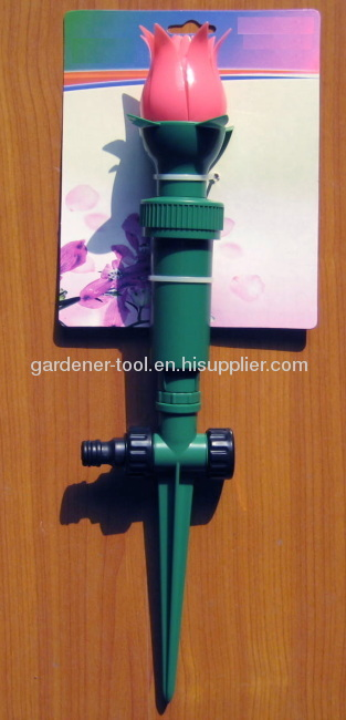 Plastic tulip water sprinkler with plastic spike