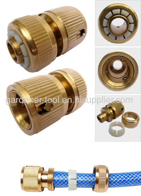 Brass 3/4snap-in garden coupling with waterstop for connecting hose.