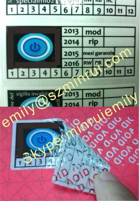 Custom White Warranty VOID Labels With Dates And Custom Designs