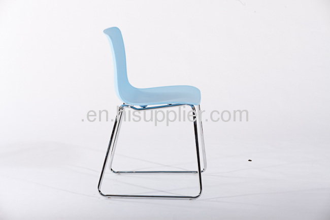 PP chrome steel base stackable ergonomic seating hal sled base side chairs