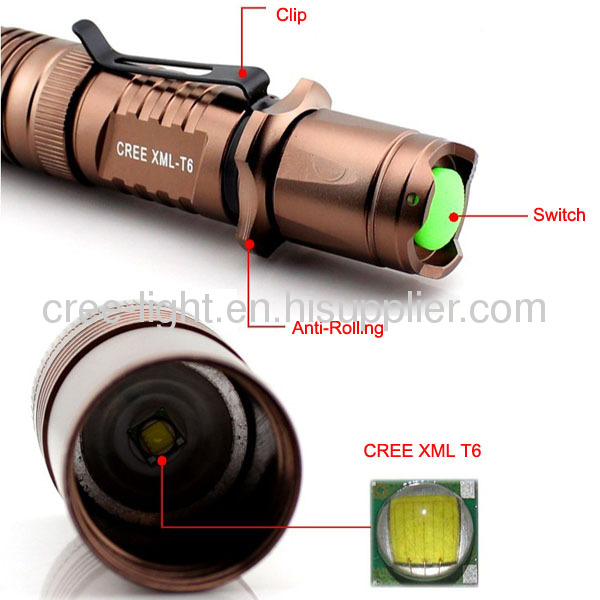 Mini CREE XML T6 Ultra Power LED Flashlight With ClipACK-1165