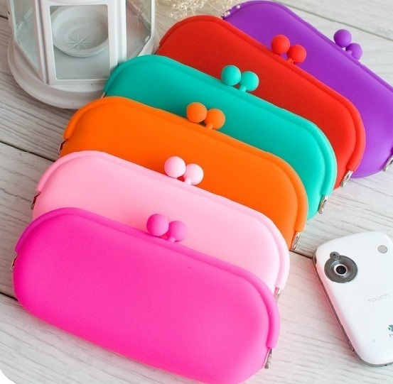 Silicone gel Pouch Purse Wallet Glasses Cellphone key Coin Bag Case