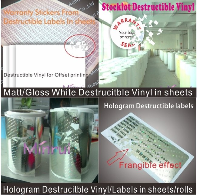 100 micron smooth surface high quality destructible label papers in rolls or in sheets