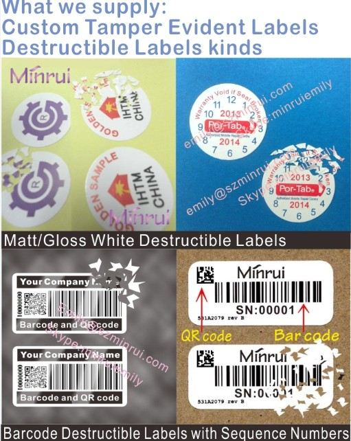 Custom round date warranty stickers for cellphones,date warranty labels