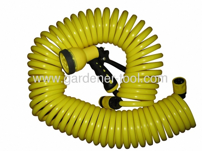 50FT 15M/50FT EVA Coil Hose With 8-function hose nozzle and European Standard Connector