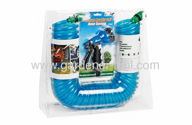 15/50FT EVA/PU garden coil hose with standing double blister with insert card package