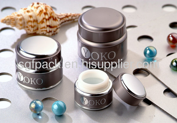 50g Anodized Aluminum container cream jar Double wall jar inner plastic jar Hot sale