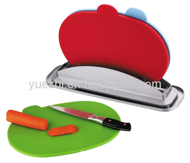 oval shape 3pcs index chopping board with water pan