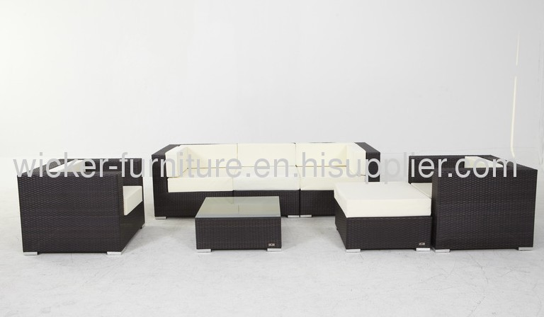 Outdoor wicker sectional sofa group