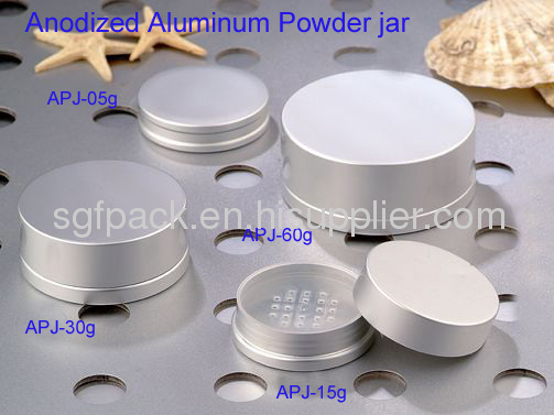 Anodized Aluminum jar powder jar Loose powder compact with Sifter and mirror gold supplier hot sale makeup package