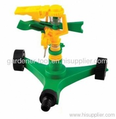 garden water hose sprinkler with wheel base